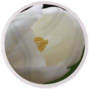 White Tulip 5 Round Beach Towel