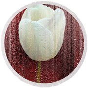 White Tulip On Red Round Beach Towel