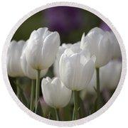 White Tulips 9169 Round Beach Towel