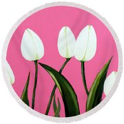 White Tulips On Pink Round Beach Towel