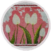 White Tulips On Pink In Stained Glass Round Beach Towel