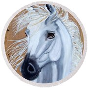 White Unicorn On Wood Round Beach Towel