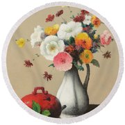 White Vase And Red Box Round Beach Towel