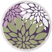 White Violet Green Peony Flowers Round Beach Towel