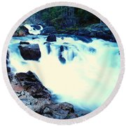 White Water On The Ohanapecosh River  Round Beach Towel