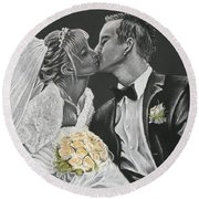 White Wedding Round Beach Towel