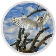 White Wide Wings Round Beach Towel