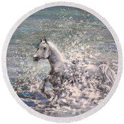 White Wild Horse Round Beach Towel