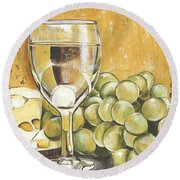 White Wine And Cheese Round Beach Towel by Debbie DeWitt