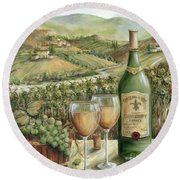 White Wine Lovers Round Beach Towel by Marilyn Dunlap