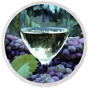 White Wine Reflections Round Beach Towel
