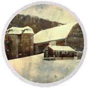 White Winter Barn Round Beach Towel