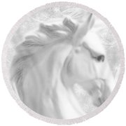 White Winter Horse 1 Round Beach Towel