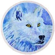 White Wolf - Aurora Nights In Blues - Square Round Beach Towel