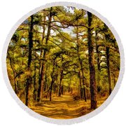 Whitebog Village Woods In New Jersey  Round Beach Towel