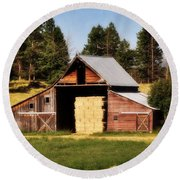 Whitefish Barn Round Beach Towel by Marty Koch