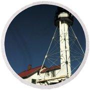 Whitefish Point Light Station Round Beach Towel
