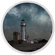 Whitefish Point Lighthouse Lake Superior Round Beach Towel