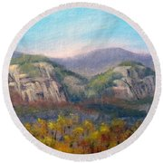 Whitehorse And Cathedral Ledges From The Red Jacket Inn Round Beach Towel