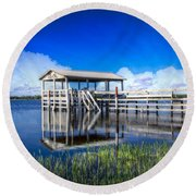 Whites And Blues Round Beach Towel