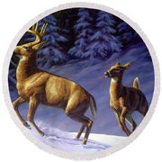 Whitetail Deer Painting - Startled Round Beach Towel