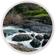 Whitewater At Bear Hole Round Beach Towel