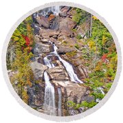 Whitewater Falls Vertical Round Beach Towel