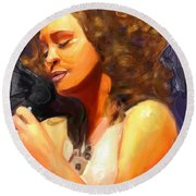 Whitney Gone Too Soon Round Beach Towel