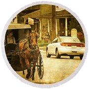 Who Are The Amish Round Beach Towel