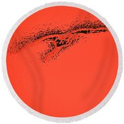 Whooper Swan Red Abstract Round Beach Towel
