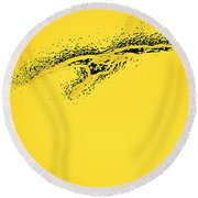 Whooper Swan Yellow Abstract Round Beach Towel