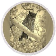 Who's Watching - Sepia Round Beach Towel