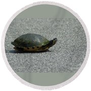 Why Did The Turtle Cross The Road Round Beach Towel
