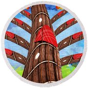 Why Pick On Me Guitar Abstract Tree Round Beach Towel