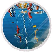 Wibbly Wobbly Flagpole Reflections Round Beach Towel