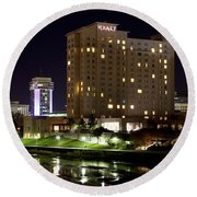 Wichita Hyatt Along The Arkansas River Round Beach Towel