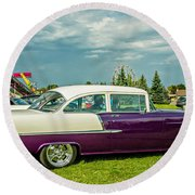 Wicked 1955 Chevy Profile Round Beach Towel