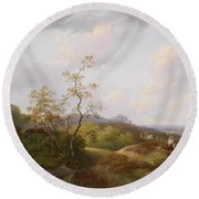 Wide Landscape With Shepherds Round Beach Towel
