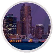 Wide Panoramic Of Scenic San Diego Round Beach Towel