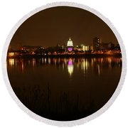 Wide Shot Of The City Skyline Round Beach Towel