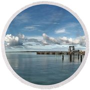 Wide View Of Kingscote Bay Round Beach Towel