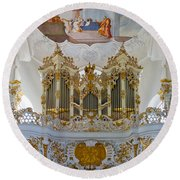 Wieskirche Pipe Organ Round Beach Towel