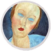 Wife Of The Painter Survage Round Beach Towel by Amedeo Modigliani