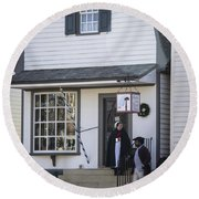 Wigmaker And Barber Shop Williamsburg Virginia Round Beach Towel