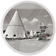 Wigwam Village #2 Coca-cola Sign Marion Post Wolcott  Cave City Kentucky July 1940-2014 Round Beach Towel