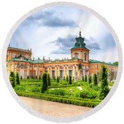 Wilanow Palace In Warsaw Poland Round Beach Towel