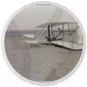 The Wright Brothers Wilbur In Prone Position In Damaged Machine Round Beach Towel