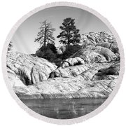 Willow Lake Number One Bw Round Beach Towel by Heather Kirk