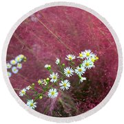 Wild Asters And Muhly Grass Round Beach Towel