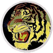 Wild At Heart Shere Khan Round Beach Towel